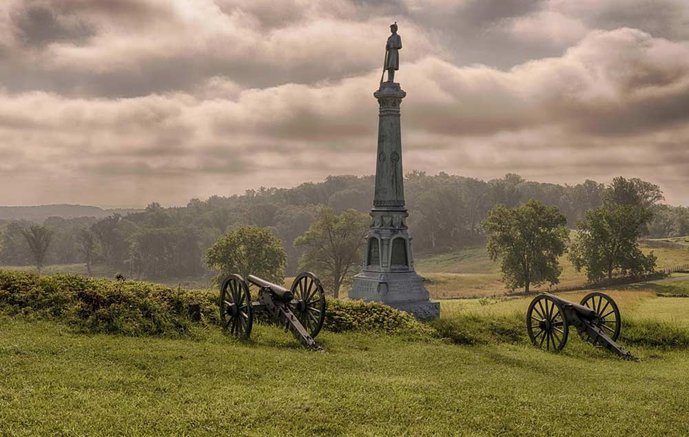 Line of cannons at Gettysburg National Military Park in Gettysburg, PA