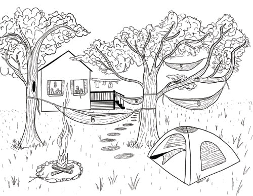Backyard Camping Coloring Book Page