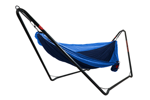 Hangout Hammock Stand with a blue hammock strung across