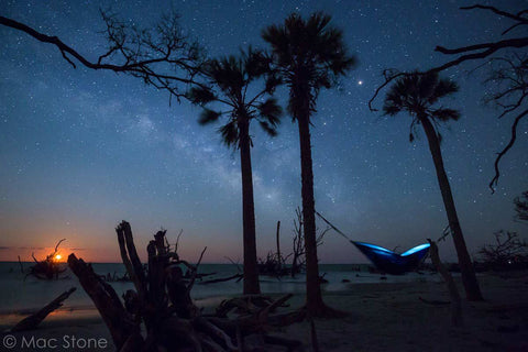 Night scene, blue hammock hung by the beach featuring a starry nighttime sky