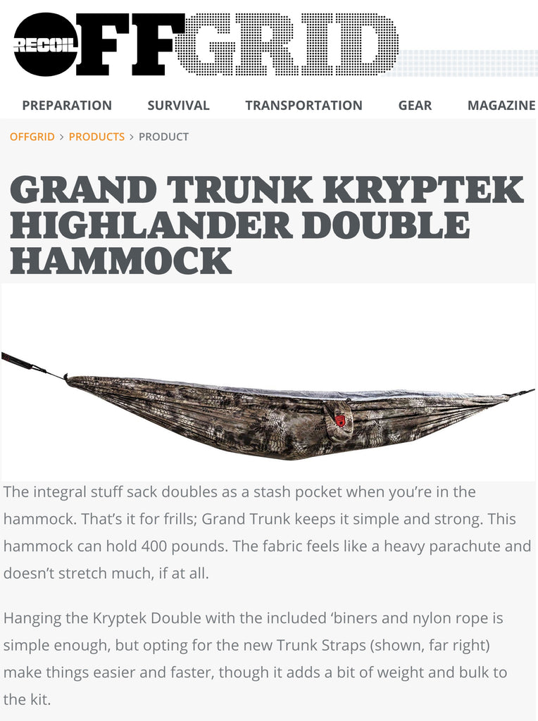 OFFGRID - Grand Trunk Kryptek Highlander Double Hammock