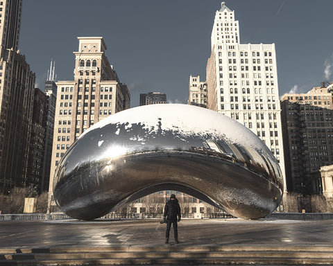 "image of the iconic ""bean"" in downtown Chicago @KBUCKLANDPHOTO"