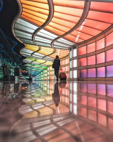 image of the rainbow panels inside Chicago airport @KBUCKLANDPHOTO