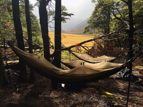 skeeter beeter hammock set-up by a river in New Zealand