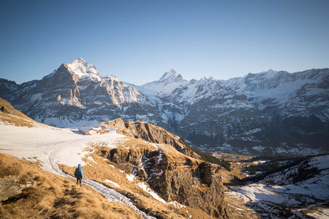 snowy mountain scene in Grindelwald, Switzerland