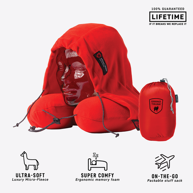 Hooded Travel Neck Pillow - Red