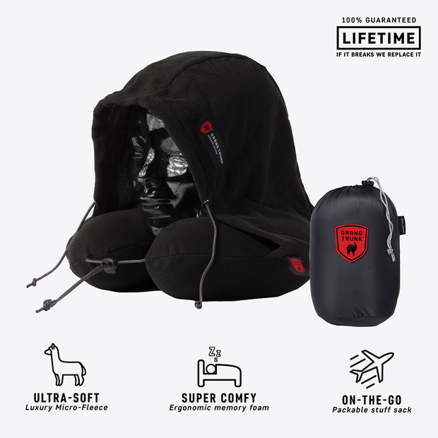 Hooded Travel Neck Pillow - Black