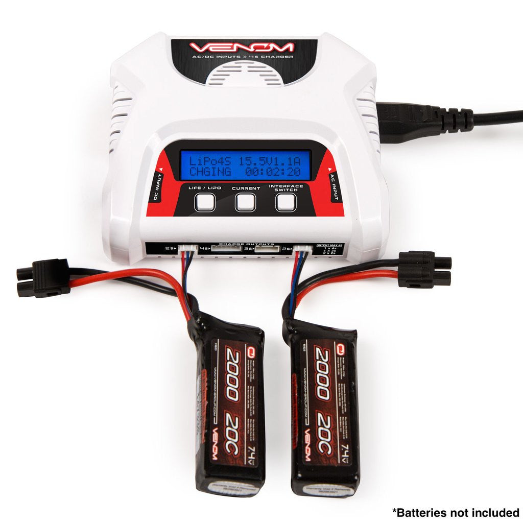 Venom 2-4 Cell AC/DC Dual LiPo/Life Battery Balance Charger