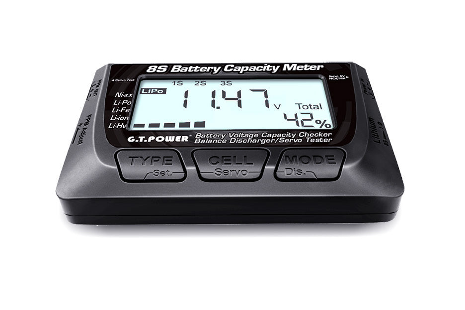 8S Battery Voltage Capacity Checker- Balance / Discharger- Servo Tester