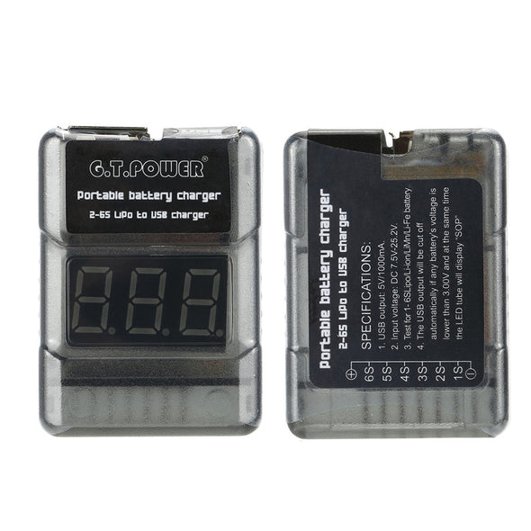 Portable 2-6S LiPo Battery Voltage Tester / USB Charger Port