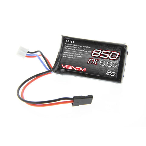 Venom 10C 2S 850mAh 6.6V LiFe TX/RX Transmitter and Receiver Battery