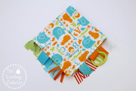 Orange and Aqua Alphabet Animals Ribbon Blanket