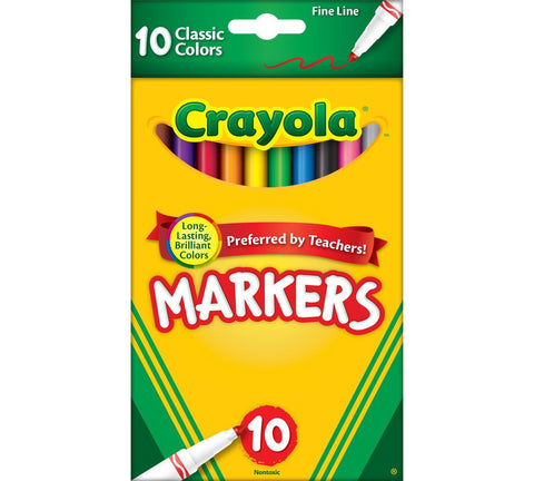 Crayola Classic Fine Line Markers - 10pk