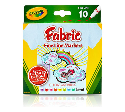 Crayola Fine Line Fabric Markers - 10pk
