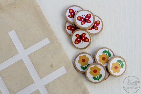 Flowers and Butterflies TicTacToe Game Set