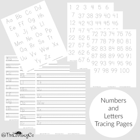 Numbers and Letters Tracing Pages PDF