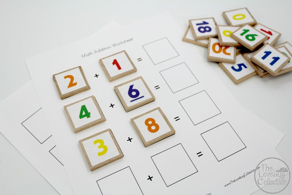 Math Number Tiles and Worksheets