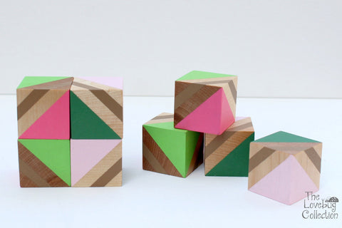Rose Garden Wood Blocks Set
