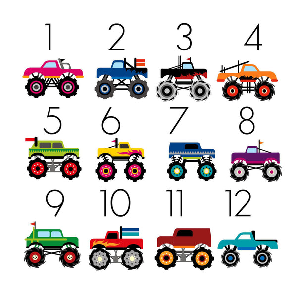 Monster Truck TicTacToe Game Set - 12 Image Choices