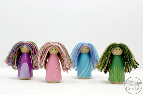 Colorful Wood Peg Dolls