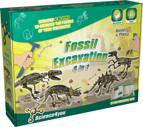 Fossil Excavation 4 in 1 Educational Kit front side