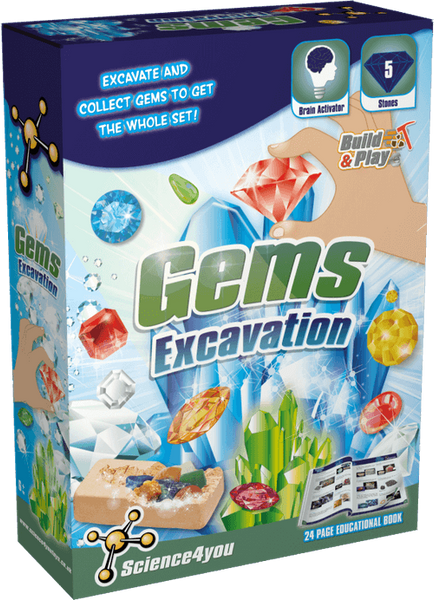 Gems Excavation Kit for Kids front side