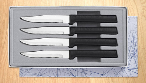 Rada Cutlery Four Serrated Steak Knives Gift Set G24S Black SSR Handle