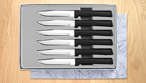 Rada Cutlery 6 Serrated Steak Knives Gift Set Black SSR Handle