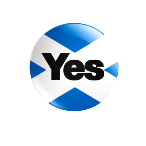 Yes/Aye with Saltire background 59mm size Badge or Magnet