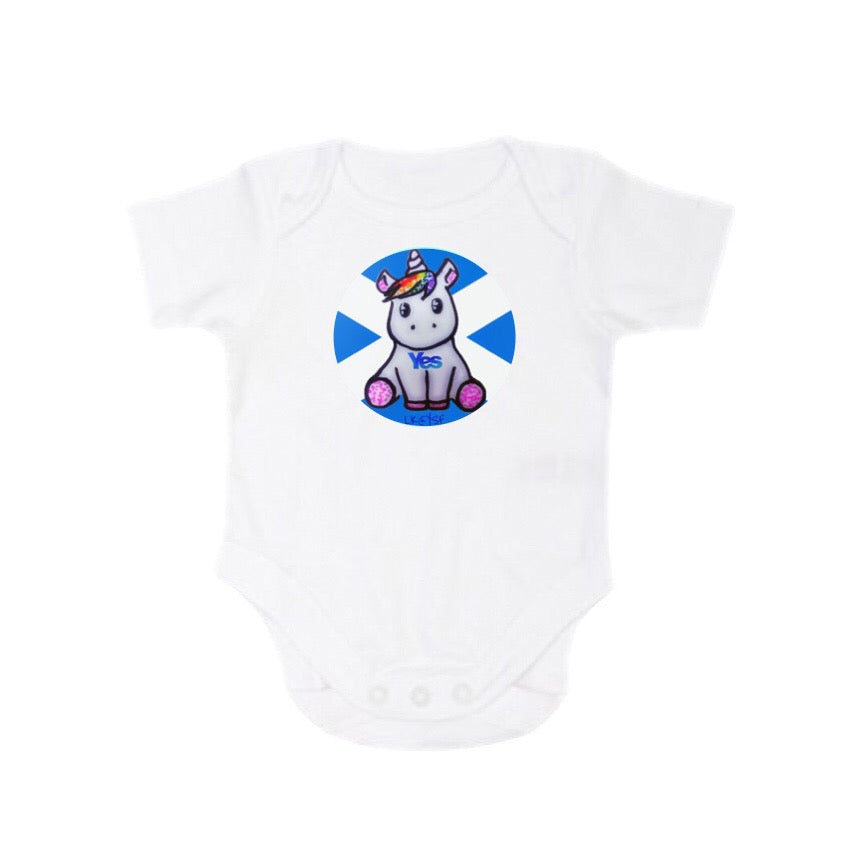 Babygrow/Onesie with Rainbow Yes Unicorn by Laura Kelly