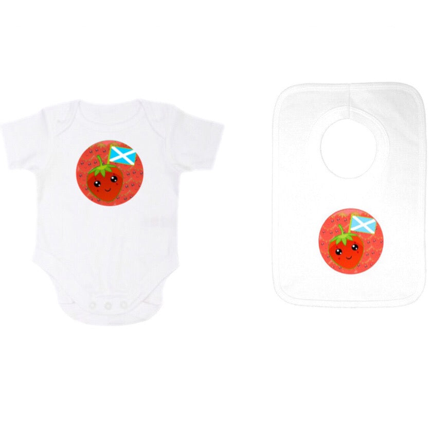 Babygrow /Onesie and Popover Gift Set with Kids Strawberry Design by Defiaye