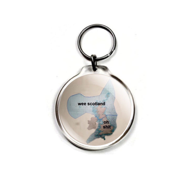 Maritime Boundary Map - Wee Scotland? Keychain with choice of charm