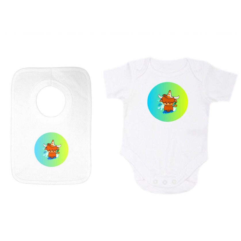 Babygrow /Onesie and Popover Gift Set with Kids Wee Coo Design by Defiaye