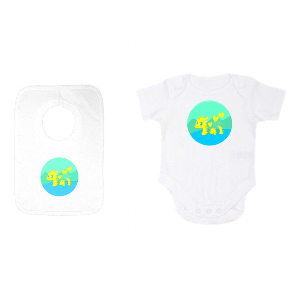 Babygrow /Onesie and Popover Gift Set with Kids Baby Nessie Design by Defiaye