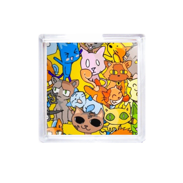 Square Acrylic Coaster Set - Indy Cats by DefiAye