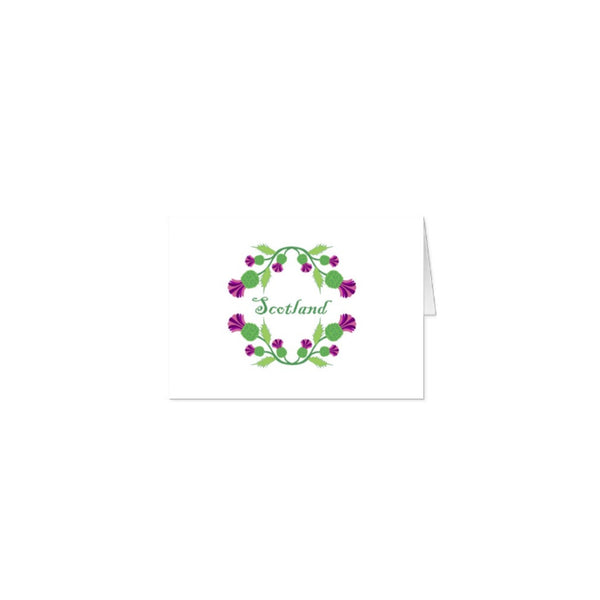 Scotland Thistle Wreath A5 blank note cards - 10 with matching envelopes