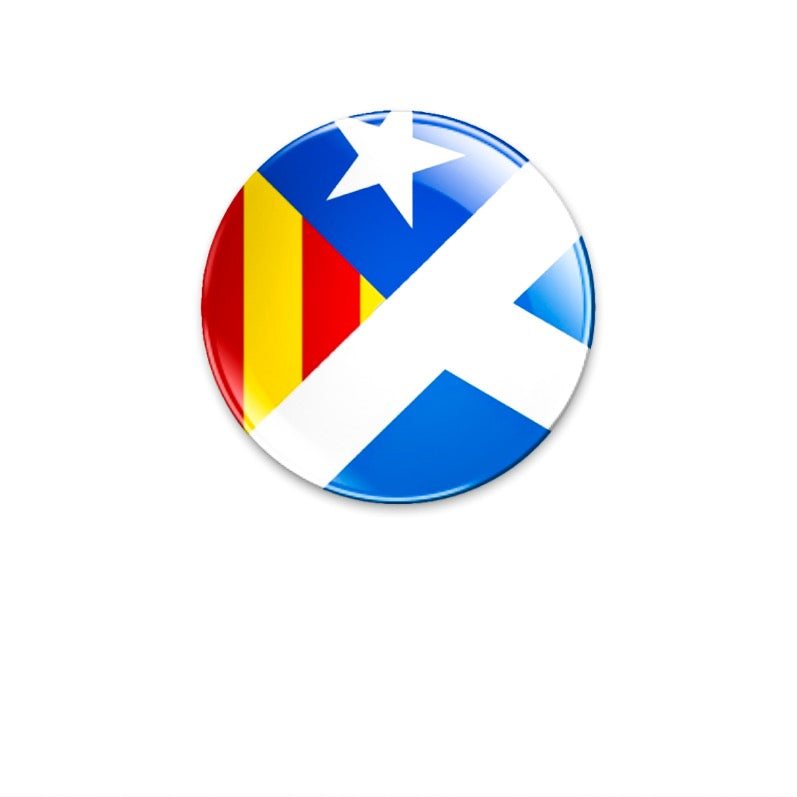 Solidarity with Catalonia Estelada/Saltire 59mm size badge or magnet