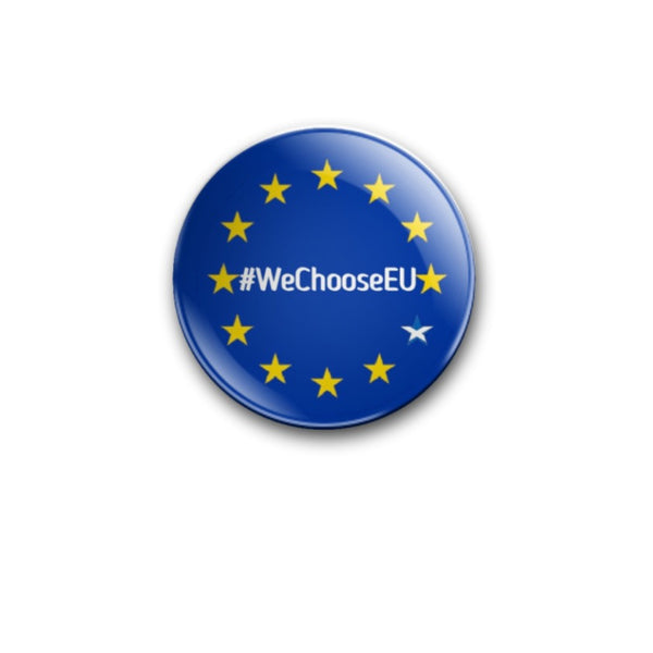 EU stars with Saltire star #WeChooseEU 59mm size Badge or Magnet