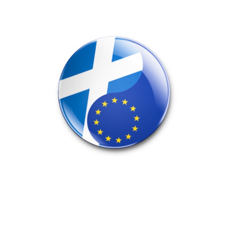 Scotland/EU flags Yin Yang 38mm size Badge or Magnet