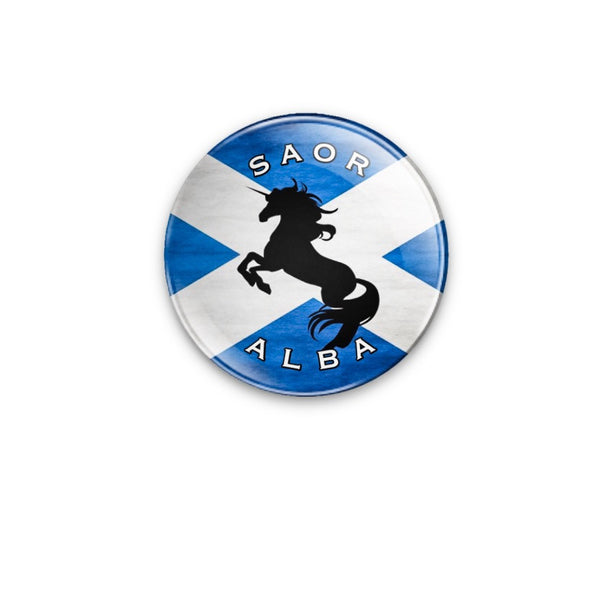 Saor Alba Unicorn Silhouette Badge 59mm