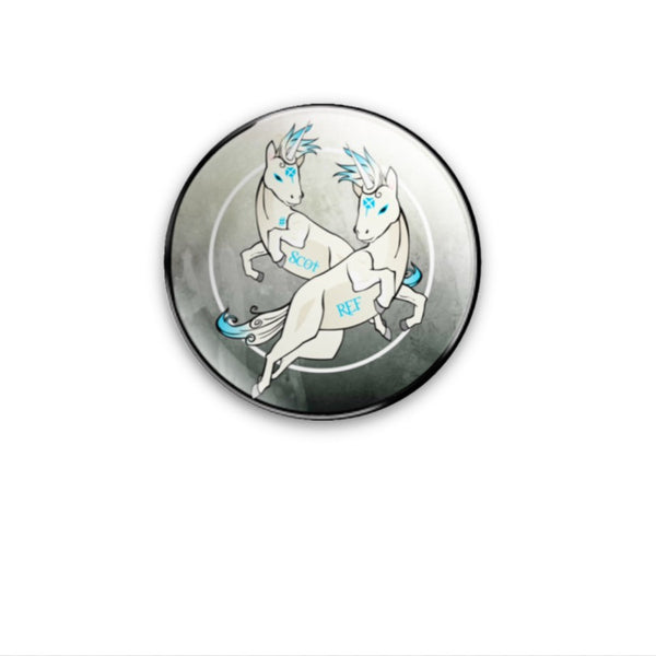#ScotRef Twin Unicorns by DefiAye 59mm size choose badge or magnet