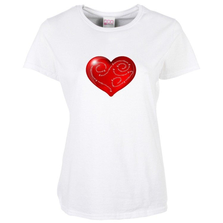 Women's Short Sleeve T Shirt - I declare world peace with heart design