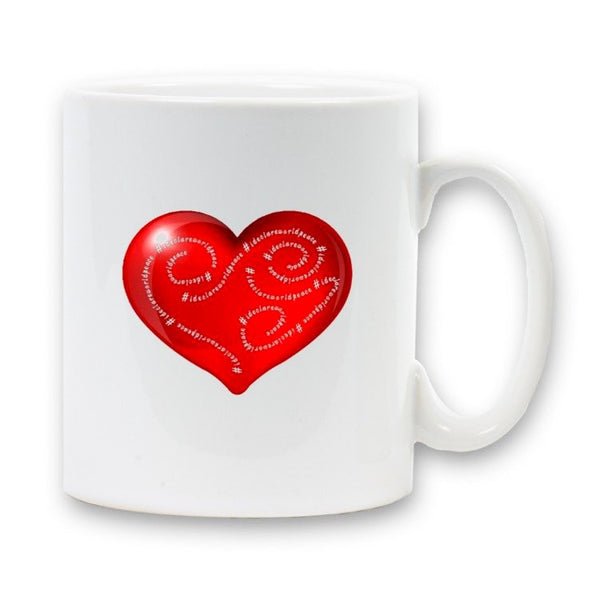 Mug with dual I declare world peace design with heart