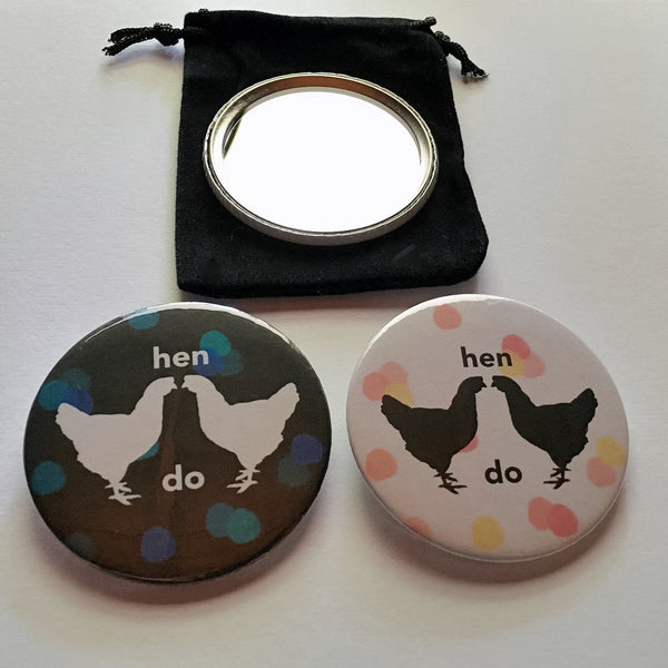 Hen Do compact mirror with velvet pouch