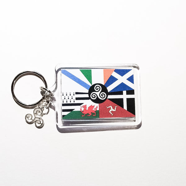 Flag of the Celtic League Keychain with Triskele Charm