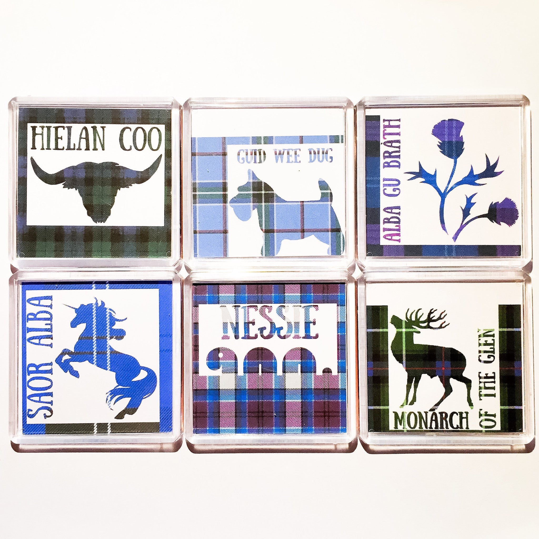 Tartan Collection Acrylic Magnet Set