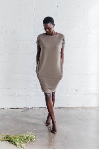 """""""The Gracemade Sabbath Cocoon Tunic"""" in washed olive. $98 USD."""