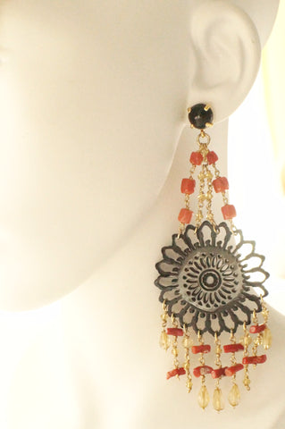 AMLE Black Sunflower, Coral Dangling Earrings