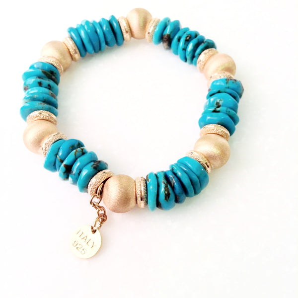Italian Turquoise and Gold Bracelet
