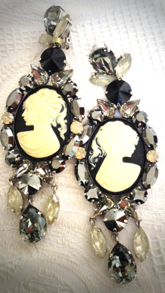 Cameo Long Drop Earrings